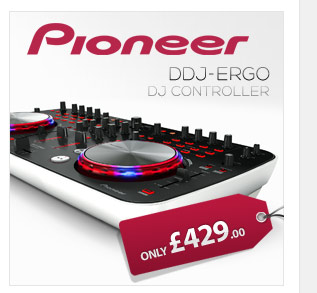 Pioneer DDJ-Ergo is an ultra-compact controller that allows DJ's to take there music anywhere and simply plug and play with USB connectivity.